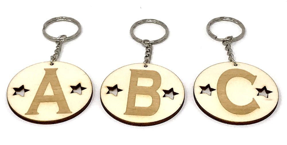A Z Alphabet Initial Keyrings Wooden Laser Cut And Engraved
