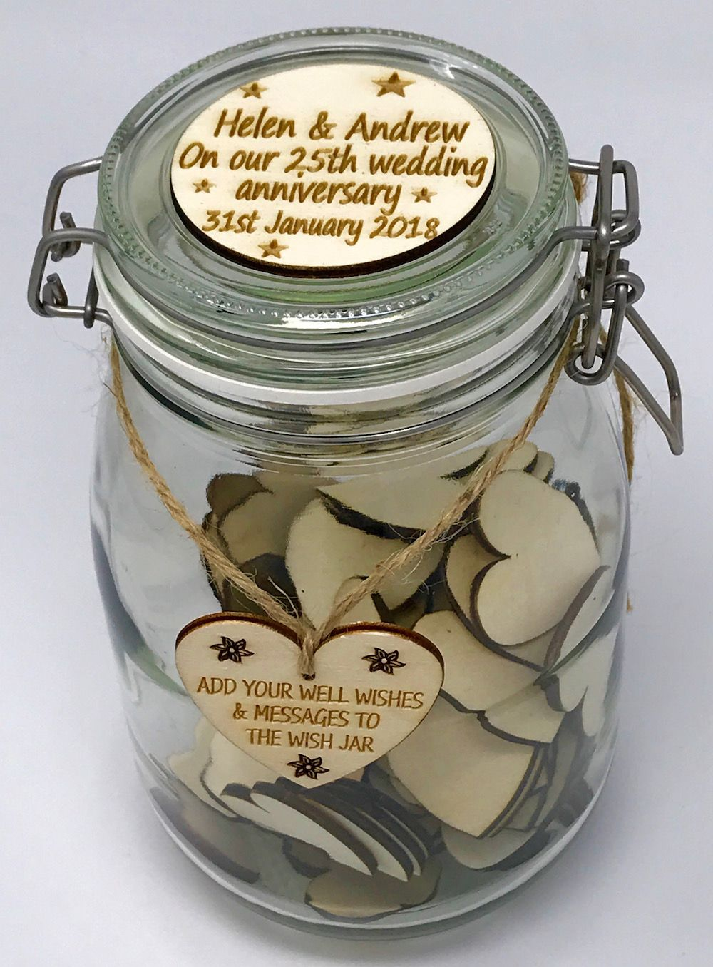 Personalised Wish Jar Wedding Guest Book Large Holds 100 Blank Hearts