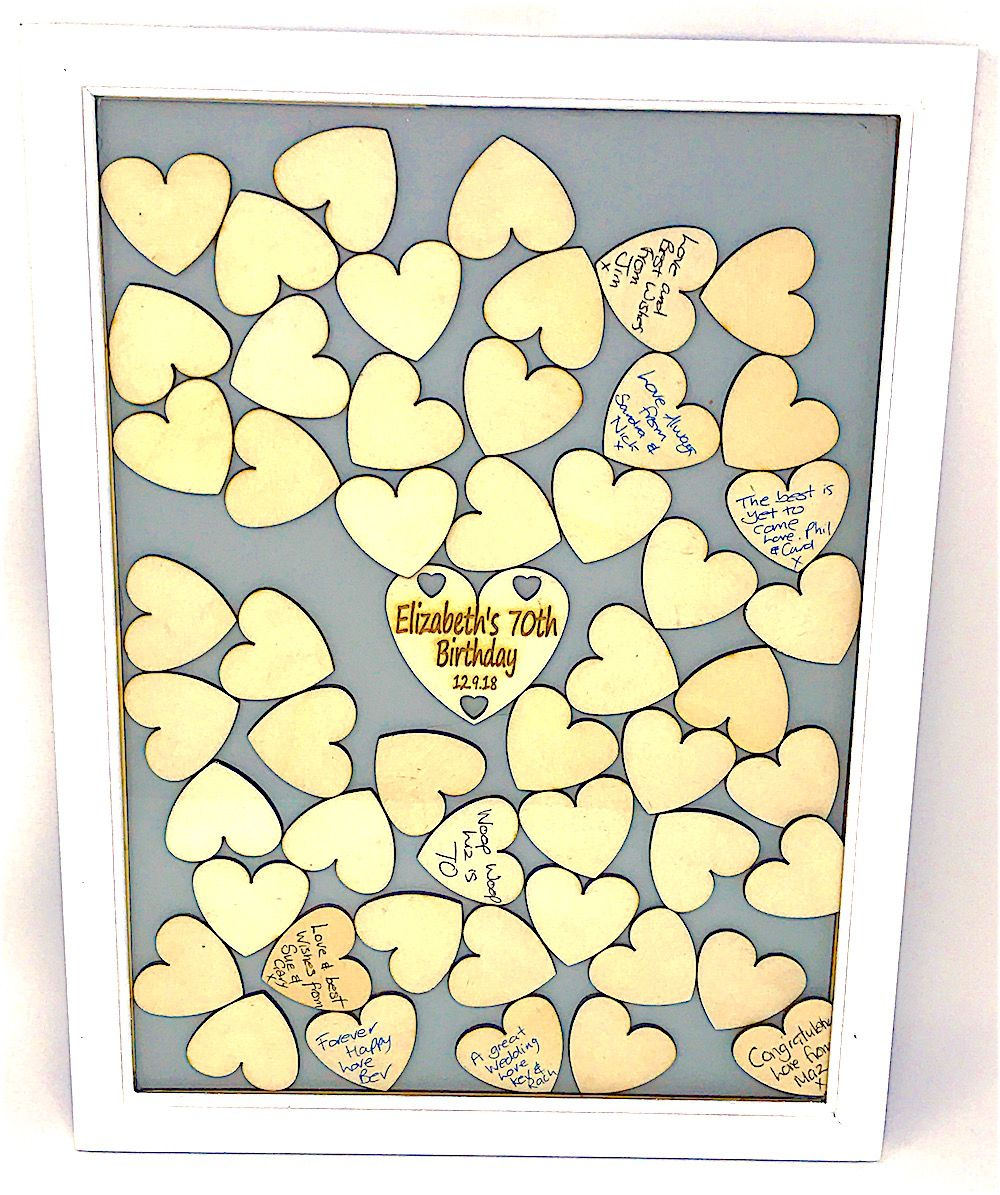 Drop Heart Guest Book Frame Wedding Guest Book Birthday Guest Book