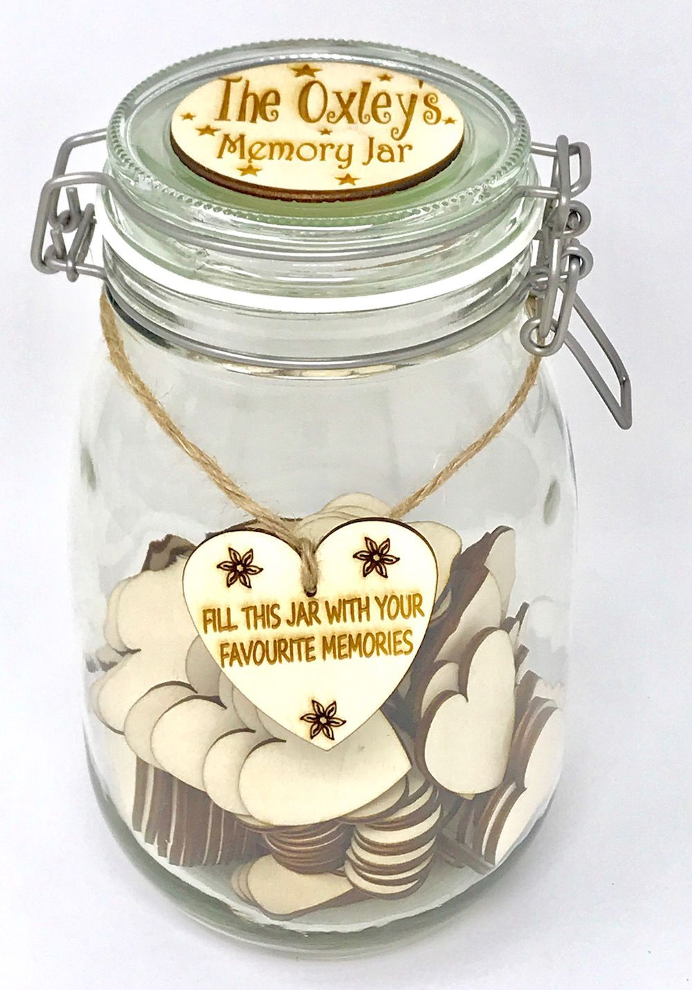 Personalised Memory Jar Guest Book Up To 200 Blank Hearts A Year Of Memories