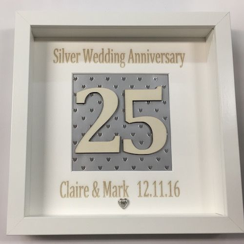 Silver Wedding Anniversary 25th Personalised Box Frame Picture Gift